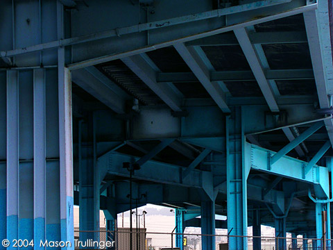 industrial blue, san francisco, california, bay area, overpass, tunnel, urban, architecture, travel, america, photographer, photography, pictures, fotos